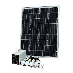 100W Off-Grid Solar Lighting System with 4 LED Lights, Charge Controller, Battery