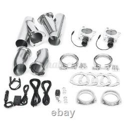 3 Dual Exhaust Downpipe Cutout Valve System + Switch Control Kit