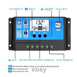 500W Solar Panel System 220V Power Battery Charge USB Inverter Controller Kit