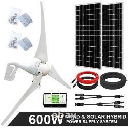 600W Hybrid System 400W Wind Generator & 2 pcs 100W Solar Panel & 20A Controller