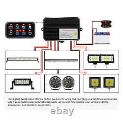 8-Gang LED Switch Panel Electronic Relay Control System Car Marine Boat 12V 24V
