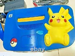Nintendo 64 N64 Pokemon Pikachu Console Blue System with Controllers RARE Bundle
