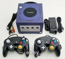 Nintendo GameCube DOL-001 Gaming System INDIGO Console 2 Controller Bundle GCN