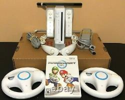 Nintendo Wii Console System Bundle Mario Kart + 2 Wheels + 2 Controllers Clean