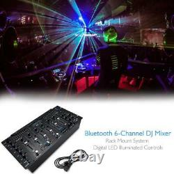 Pyle PYD1964B. 5 6 Channel Bluetooth DJ Controller Stereo Mixer Sound System