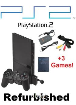 Sony PS2 Slim BLACK PlayStation 2 Console System Bundle Controller Cords Memory