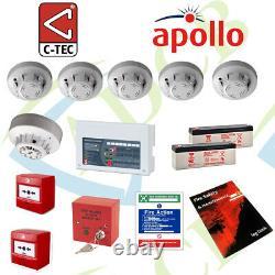 Two Wire Fire Alarm System Contractor Kit Apollo C-Tec 4 Zone Control Panel UK