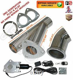 Universal Fit Powered Exhaust Cut Off Valve Kit 2 Electric Control System